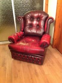 REDUCED - Chesterfield leather armchair