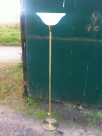Modern brushed gold standard lamp with retro art deco uplighter glass shade in great condition