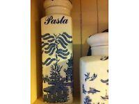 Willow pattern storage jars