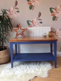 Extending Retro Wooden Coffee Table Hand Painted Ink Blue Chalk Paint And Waxed