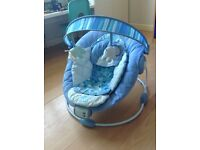 Bright Starts Comfort & Harmony Baby Bouncer Blue, two modes music & vibration quiet & louder