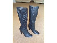 Ladies Black leather knee high boots size 5