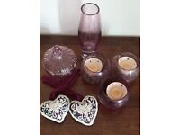 Dunelm Purple glass ornament set