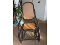 Bentwood Rocking Chair, Black and Rattan
