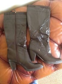 M&S Brown leather knee length boots size 8 Brand new