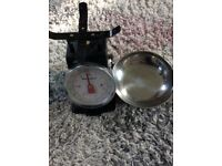 KITCHEN SCALES, WEIGHS TO 3lb. GOOD CONDITION, BLACK, METAL BOWL.