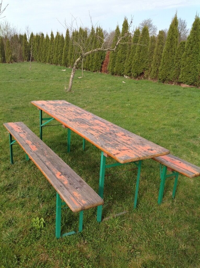 Vintage industrial German beer table and bench set glamping camping events  garden. Vintage industrial German beer table and bench set glamping