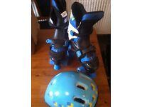 Blue Adjustable Roller Skates Sz 3-6