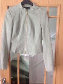 Karen Millen light green suede bomber jacket size 12