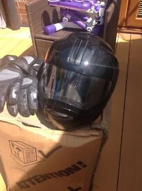 Black Flip Down Helmet Size (M) and Gloves