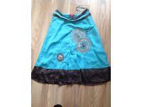 Monsoon Torquiose silk embellished skirt size 12