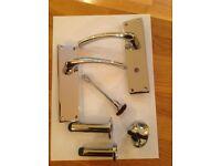 internal polished door handle sets , £10 per set , door stoppers £1.50 each , various quantities