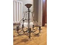 Beautiful chandelier in a lovely soft pewtery bronze metal - Belfast, Lisburn Road