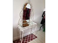 Lovely white vintage wrought iron dressing table with mirror and mirrored surface