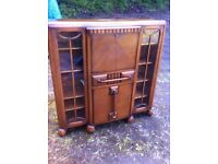 Stunning 1920s/30s art deco bureau/display cabinet/ cocktail cabinet