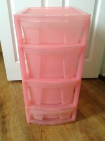 Storage Unit 4 Drawers Pink - comes apart for easy transport