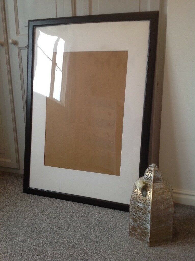 Large IKEA black wooden picture / photo frame with white mount | in ...