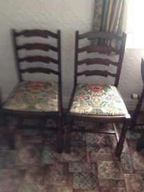 Dark Wood Dining Rectory Winged Table And 4 Chairs
