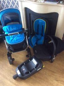Slivercross wayfair pram/pushchair/baby seat and isofix base in blue