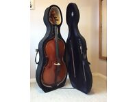 7/8 Cello and case, 2 bows, with accessories for sale, excellent condition