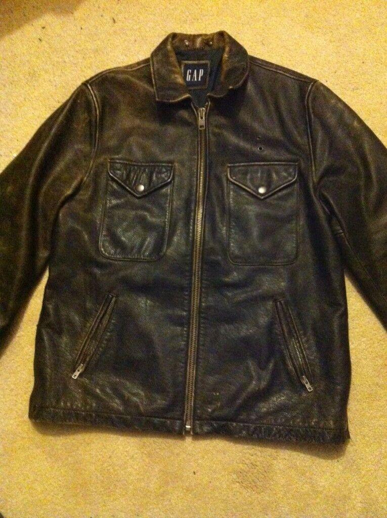 GAP Leather Jacket Coat size Large