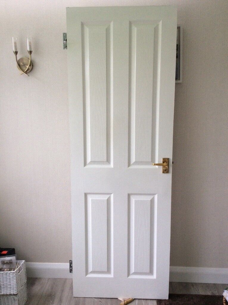 USED -BATHROOM -DOOR -PAINTED WHITE WITH HINGES, HANDLES WITH LOCKS & 2 X CLOTHES HOOKS