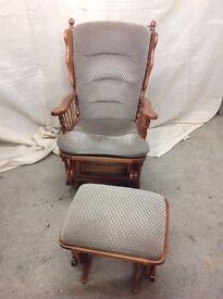 Glide chair with glide footstool. Very good condition