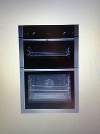 NEFF fully-integrated double oven, self-cleaning. Black with silver trim. Very good condition.n