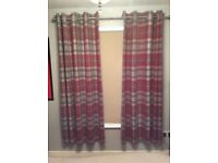 FLG. NEXTRED CHECK WOVEN EXTRA WIDE EYELET THERMAL LINED CURTAINS.