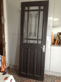 Solid wood painted internal door with glass panel