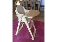 Wooden high chair, excellent condition.