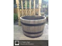 Oak whiskey barrel planters