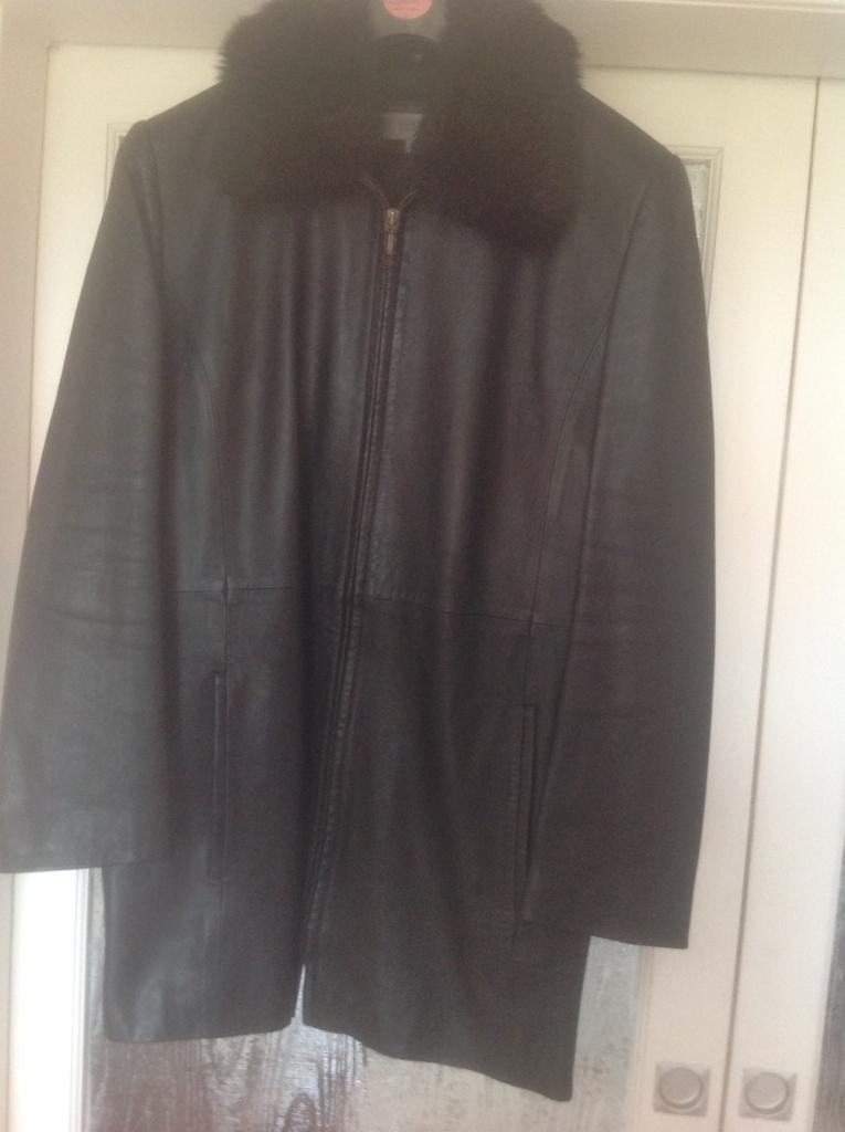 Coat black leather