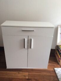 White Argos Venetia shoe cupboard with one drawer, two doors, two removable internal shelves