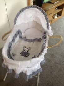 Moses basket and stand white/blue good condition