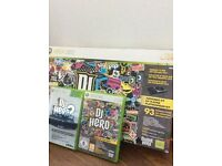 DJ HERO XBOX 360 TURNTABLE KIT AND 2 GAMES