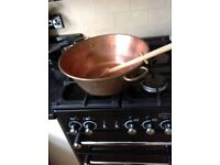 Large copper jam pan and spoon