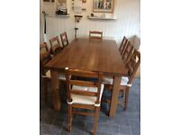 Antique Pine table with 8 chairs