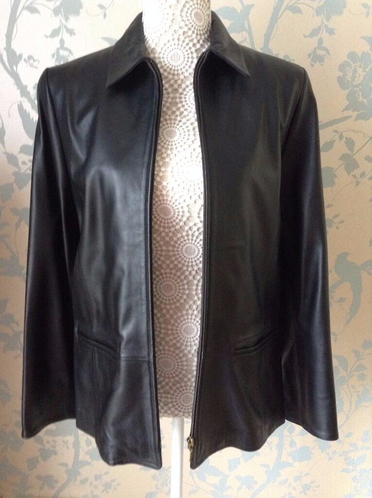 Womens Clothing Black Leather Jacket 100% Genuine Leather Size 14 BNWTin Cheltenham, GloucestershireGumtree - Black Leather Jacket. 100% Genuine Leather. Size 14. Zip Fastening. 2 Pockets. Lined in Red. NEW with Tags. Item comes from a smoke & pet free home. Asking price only. If you email me with any questions please checkyour spam folder for a reply