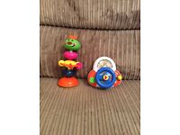 High chair toys x2 steering wheel and caterpillar