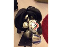 Trolley,bag, Dunlop 3-9 irons, 2 wedges. Driver, 3,5,7 metal woods. Putter. Big hitter metal wood.