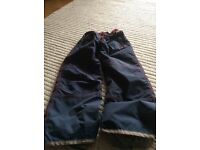 Navy and red mini Boden ski trousers