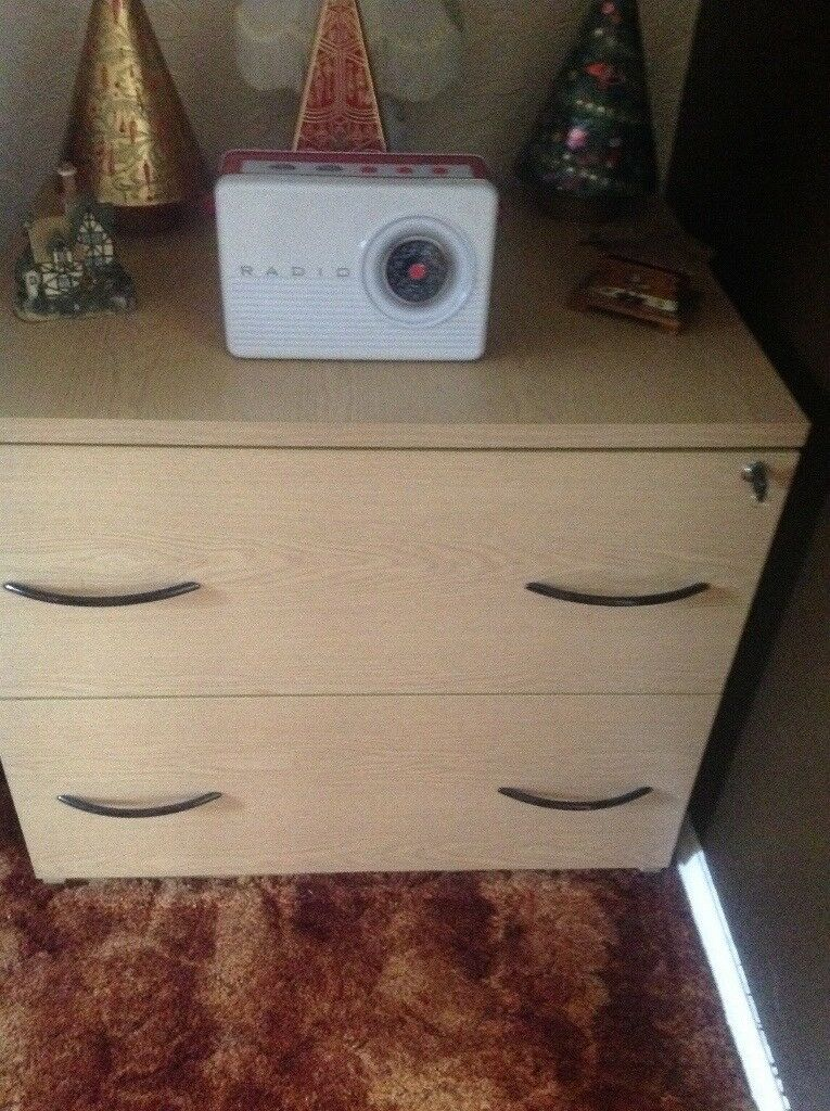Office chest with key to lock draw