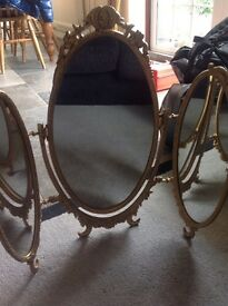 Ornate three panel brass mirror gold dressing table heavy guilt