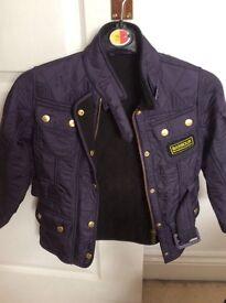 Girls navy blue Barbour coat 4/5 XS