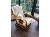 2 Haddon House conservatory wooden chairs with cushions ,to collect