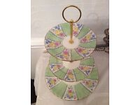 Royal Grafton Green Floral 3 Tier Cake Stand.