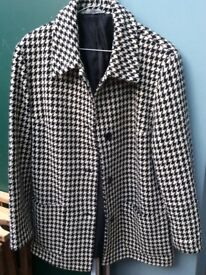 M&S black & white 80% wool dogtooth check jacket size 12