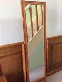 Antique Pine Full Length Standing Mirror