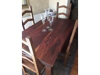 Rustic Solid Wood Chunky Dining Table and 4 Matching Chairs